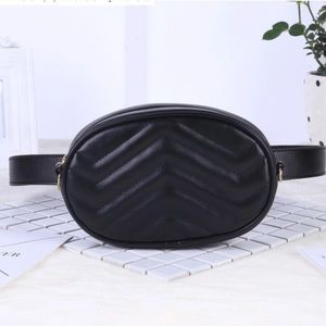 Handbags - Black Leather Belt Bag | Fanny Pack | Quilted
